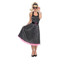 Ladies Twist and Shout Polka Dot Costume includes a black A-line polka dot dress with crinoline lining and belt. Adult Twist & Shout Polka Dot A-line dress with belt 50s Costume, Costume Dress, Girl Costumes, Adult Costumes, Costumes For Women, Twist And Shout, Halloween Fancy Dress, Dot Dress, Dresses