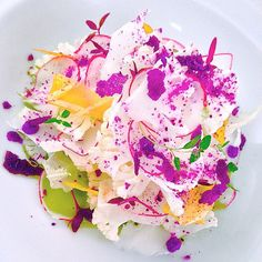 pickled cauliflower salad with red cabbage flakes/powder/mango paper and coriander oil/ Chef Jason Howard