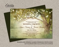 Woodland Wedding Invitation With String by iDesignStationery