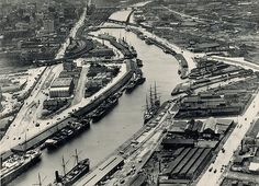 Aerial photo of Docklands, Note ships originally were able to berth on both side of the Yarra all the way up to the Customs Wharf/Turning Basin before construction of the Spencer St bridge in Melbourne Docklands, Melbourne Cbd, Melbourne Victoria, Victoria Australia, Melbourne Australia, Brisbane, Melbourne Suburbs, Airlie Beach, Herzog