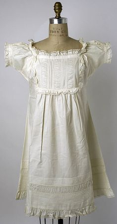 I'd love to have something similar to this as a nightgown now :)  Cotton chemise, American, 1863.