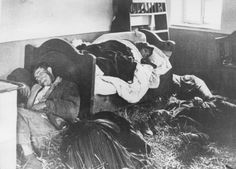 A Serbian family lies slaughtered in their home.  They were killed by Ustaše militia, a Croatian fascist military unit that gladly took on the responsibility of genocide in collaboration with the Nazis.