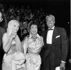 Marie Wilson, Joan Crawford, and Cesar Romero pose together at the premiere of director George Cukor's film, 'A Star Is Born,' Katherine Elizabeth, Judy Garland, Joan Crawford, A Star Is Born, Best Actress, Famous Faces, American Actress, Candid, Dancer