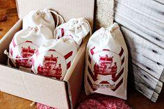Vintage firetruck favor bags