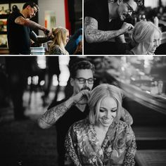 this groom did his bride's hair. how romantic is that?!