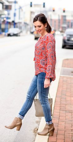 Printed Peasant Top with Blue Jeans and Grey Booties