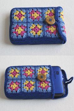 Leuk voorbeeld Telefoonhoesje met kleine granny haken.