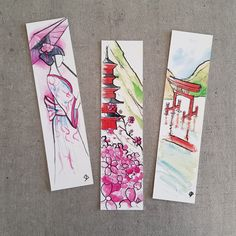 Japan Watercolor, Watercolor Print, Watercolor Paintings, Creative Bookmarks, Cute Bookmarks, Book Lovers Gifts, Book Gifts, Watercolor Dreamcatcher, Watercolor Bookmarks