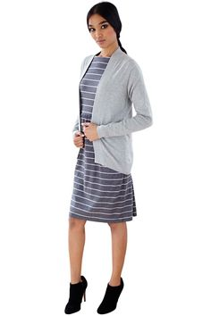 Grey long sleeve open cardigan in 100% Fairtrade certified organic cotton. This style is cosy, relaxed and perfect for layering. Also available in black and pink. Length 75cm.