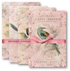 Digital Papers Floral Carte Postale with Birds Digital Collage Sheet Set No.461. $4.50, via Etsy.