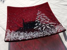 "One of a Kind Holiday Red Fused Glass Platter with Dichoic and White Tree 9.5"" x 10"""