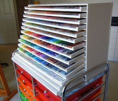 DIY Colored Pencil Cabinet: Have you ever seen those massive sets of drawers big Faber-Castell sets come in? This is the DIY version, which can hold as many pencils (or pens, markers, or pastels) as you need! Art Supplies Storage, Art Storage, Craft Room Storage, Craft Supplies, Storage Ideas, Craft Rooms, Office Supplies, Storage Solutions, Rangement Art