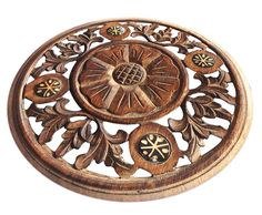 Bulk Wholesale Handmade Mango Wood Round Shaped Trivet with Intricate Floral Carving – Traditional Look Accessories for Kitchen / Dining Table