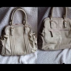 """Moda Luxe pearlized taupe/ivory satchel braided and stitched design and lots of extra zippered pockets, Outside: one on each side, one in the back, each lip of the bag opening also is a zippered compartment, Inside: two slip in pockets, one zippered pocket. 18.5""""H x 14.5""""W x 5""""D Last two pics are of blemishes. A blue tinted spot (not noticeable unless close up) and some wear and tear. moda luxe Bags Satchels"""
