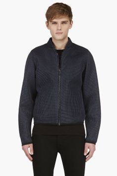 CALVIN KLEIN COLLECTION SSENSE EXCLUSIVE Slate Blue Layered Mesh Jacket