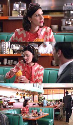 Mad Men Megan with orange sherbet.