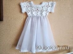 Scheme on the site Crochet Girls, Crochet Baby, Knit Crochet, Crochet Clothes, Flower Girl Dresses, Short Sleeve Dresses, Feminine, Knitting, Wedding Dresses