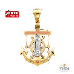 GoldenMine 14k Tri Color Gold Guadalupe Medal Pendant Size : 32 x 17 mm