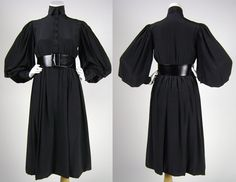 Norman Norell Black Silk Dress with Leather Belt  / 1970s