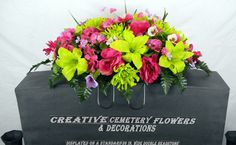 Deluxe Mixed Bush Cemetery Flower Headstone Saddle