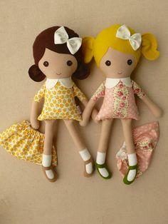 Reserved for China Fabric Dolls Rag Dolls Blond by rovingovine