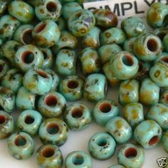 6/0 TOHO Hybrid Turquoise Picasso Glass Seed Beads 200