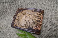 Bi-fold wallet with the Unicorn and roses, made to order customized listing by KazakhshaStyle on Etsy