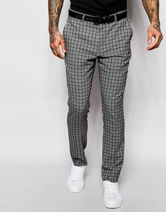 Skinny Suit Trousers In Check In Grey