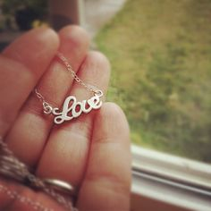 Silver Tiny Love Necklace  Everyday Jewelry by cocowagner , $18.90