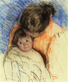 Sketch of Mother Looking down at Thomas, 1915 by Mary Cassatt. Impressionism. sketch and study. Private Collection