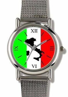 Travel Poster of Italy with Icons Italy Theme - WATCHBUDDY® ELITE Chrome-Plated Metal Alloy Watch with Metal Mesh Strap-Size-Small ( Children's Size - Boy's Size & Girl's Size ) WatchBuddy. $79.95