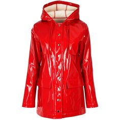 Nasty Gal High and Dry Rain Coat ($64) ❤ liked on Polyvore featuring outerwear, coats, mac coat, red raincoat, vinyl raincoat, nasty gal and hooded raincoat