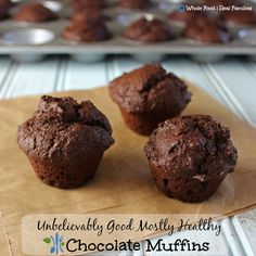 Mostly Healthy Chocolate Muffins. Mostly Healthy Chocolate Muffins. Having trouble detoxing from months of holiday eating only to swear off junk food in the New Year? Healthy Chocolate Muffins, Vegetarian Chocolate, Chocolate Chips, Muffin Recipes, Brunch Recipes, Clean Eating Recipes, Whole Food Recipes, Healthy Snacks, The Best