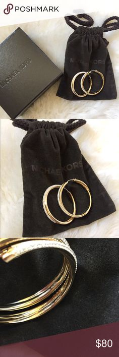 "Michael Kors Gold Tone Pave Hoop Earrings Michael Kors Gold Tone And Pave Hoop Earrings. Diameter 1.5"". Worn once and have no sign of wear. Will come with Michael Kors pouch and box. Michael Kors Jewelry Earrings"