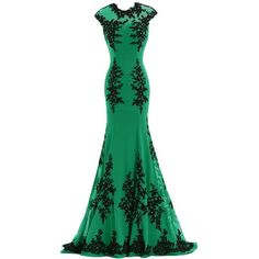 Sunvary Chiffon and Appliques Mermaid Mother of the Bride Dress Prom... (210 AUD) ❤ liked on Polyvore featuring dresses, gowns, long dress, prom gowns, green dress, green prom dresses, long chiffon evening dress and prom ball gowns