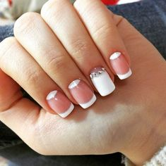White and Pink Moon Nails