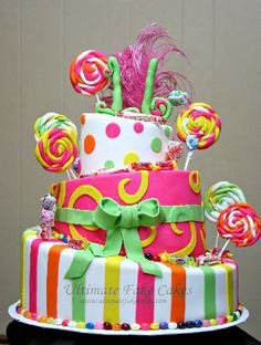 This brilliantly colored Candy Land themed cake will add to any event and bring out the kid in you.