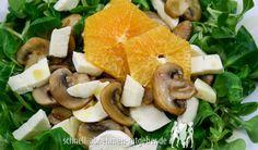 Feldsalat mit karamellisierten Champignons & Orangenscheiben
