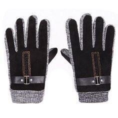 Men's Winter Warm Pigskin Knitting Buckle Fingers Gloves,Black