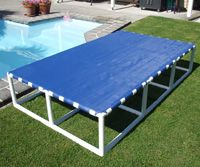 Pool platform idea - with mesh made of tough polypropylene. http://www.polycane.co.nz/products/other/swimmingpoolplatforms.php