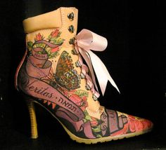 I want ALL of her shoes!---Hand Illustrated Leather boots Women's by TheWoodsSecretGarden, $120.00