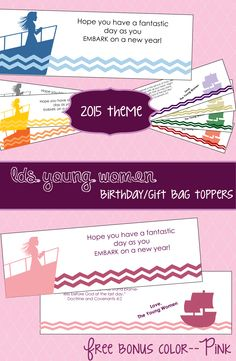 Introduce the new LDS Young Women 2015 Theme with this gift bag topper!