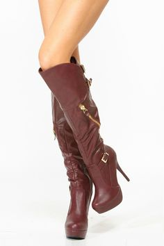 Wine Gold Accent Knee High Boots