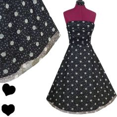POLKA DOT Pinup FULL SKIRT Rockabilly 50s Party PROM Dress M L Black White Swing