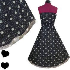 POLKA DOT Pinup FULL SKIRT Rockabilly 50s Party PROM Dress M L Black White Swing
