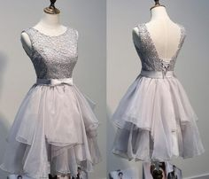 lace Homecoming dresses, Grey backless homecoming dresses, Sxy homecoming dress, dresses for homecoming