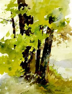 Tree Study by Bill Vrscak Watercolor Painting Techniques, Watercolor Landscape Paintings, Watercolor Trees, Watercolor Artists, Abstract Landscape, Watercolour Painting, Painting & Drawing, Watercolors, Landscape Pics