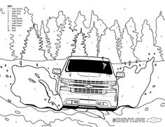 Use the color key and bring life's playground indoors. Free Stuff, Kid Stuff, Coloring Pages For Kids, Coloring Books, Like A Rock, Chevy Silverado, Dream Garage, Spaceships, Chevy Trucks