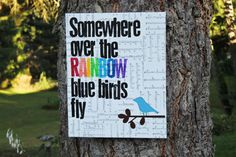 """So perfect for a nursery or play room! 16x20 """"Somewhere over the rainbow...""""    vintage sheet by Houseof3"""
