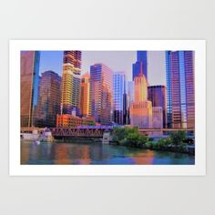 Chicago / Illinois / Skyline / Downtown / Chicago River / Train / Loop / August 2011 / Art print on sale @ society6.com